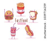 cute breakfast ingredients... | Shutterstock .eps vector #1039716259