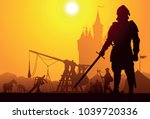 medieval knight with the camp... | Shutterstock .eps vector #1039720336