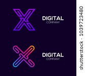 letter x colorful logotype with ... | Shutterstock .eps vector #1039723480