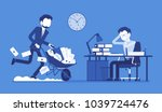 overworked in the office. young ... | Shutterstock .eps vector #1039724476