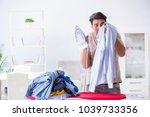 inattentive husband burning...   Shutterstock . vector #1039733356