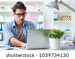 freelancer working at home new...   Shutterstock . vector #1039734130