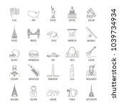 usa icons set. outline... | Shutterstock .eps vector #1039734934