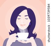 a woman is holding a cup of tea ... | Shutterstock .eps vector #1039739584