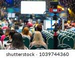 closeup smart mobile phone... | Shutterstock . vector #1039744360