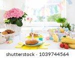 easter breakfast table setting. ... | Shutterstock . vector #1039744564