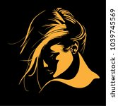 woman face silhouette in... | Shutterstock .eps vector #1039745569