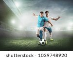 soccer players on a football... | Shutterstock . vector #1039748920