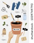 garden poster. vector...   Shutterstock .eps vector #1039749793
