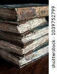 stack of classic  vintage ... | Shutterstock . vector #1039752799
