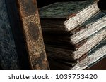 stack of classic  vintage ... | Shutterstock . vector #1039753420