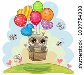 cute cartoon owl in the box is... | Shutterstock .eps vector #1039754338