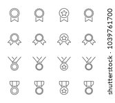 medals outline icons set | Shutterstock .eps vector #1039761700