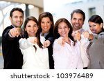 Happy Business Group Poiting A...