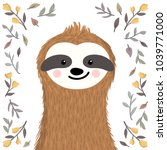 Stock vector cute baby sloth among flowers and leaves adorable animal illustration in the summer spring style 1039771000