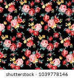 rose floral pattern with little ... | Shutterstock . vector #1039778146