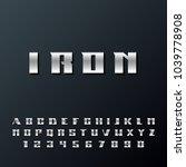 modern strong alphabet... | Shutterstock .eps vector #1039778908