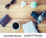 preparation for travel trip... | Shutterstock . vector #1039779430