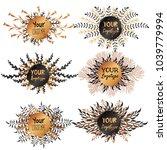 set of round labels designed... | Shutterstock .eps vector #1039779994
