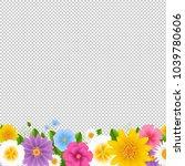 flowers border transparent... | Shutterstock .eps vector #1039780606