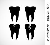 set o simple black tooth icons... | Shutterstock .eps vector #1039781584