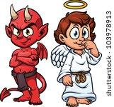 Cartoon Little Angel And Devil...