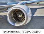 jet engine of a new aircraft | Shutterstock . vector #1039789390