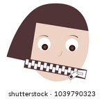 woman mouth shut up zipper... | Shutterstock .eps vector #1039790323