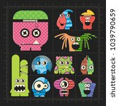 cute colorful monsters on black.... | Shutterstock .eps vector #1039790659