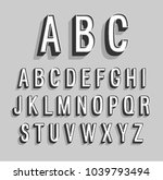 retro alphabet. vector... | Shutterstock .eps vector #1039793494