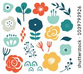 Floral vector set with flat doodle style abstract flowers and leaves. Collection of hand drawn sketch style flowers