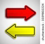 arrow banners set. direct shape.... | Shutterstock . vector #1039802224