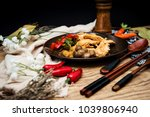 wok fried chicken stir fry with ... | Shutterstock . vector #1039806940