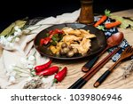 wok fried chicken stir fry with ... | Shutterstock . vector #1039806946
