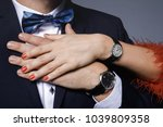 close up of couple hands. well... | Shutterstock . vector #1039809358