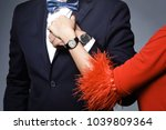 close up of couple hands. well... | Shutterstock . vector #1039809364