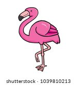 a cute pink flamingo. vector... | Shutterstock .eps vector #1039810213