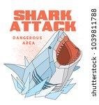 shark attack t shirt   poster... | Shutterstock .eps vector #1039811788