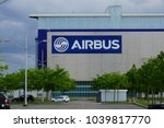 Small photo of TOULOUSE, FRANCE -12 MAY 2017- View of the Airbus logo at the Airbus factory at the Toulouse Blagnac international airport (TLS). Airbus is a European consortium aeronautics manufacturer.