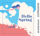 hello spring romantic banner or ... | Shutterstock .eps vector #1039818340