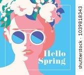 hello spring romantic banner or ... | Shutterstock .eps vector #1039818343