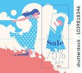 spring sale banner  sale poster ... | Shutterstock .eps vector #1039818346