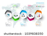 pentagons label infographic... | Shutterstock .eps vector #1039838350