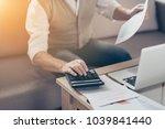 Small photo of Growth investor auditor graphs bill people think insurance job entrepreneur paperwork plan stock shares person notebook concept. Close up photo of shareholder's hand using pressing buttons calculator