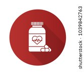 pills bottle with heart flat... | Shutterstock .eps vector #1039842763