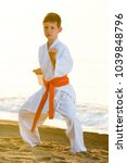 young boy practising karate... | Shutterstock . vector #1039848796