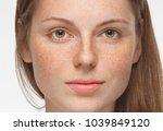 beautiful woman face close up... | Shutterstock . vector #1039849120