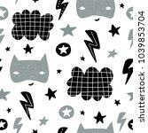 seamless childish pattern with... | Shutterstock .eps vector #1039853704