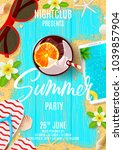 summer party flyer invitation.... | Shutterstock .eps vector #1039857904