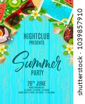 beautiful flyer for summer... | Shutterstock .eps vector #1039857910